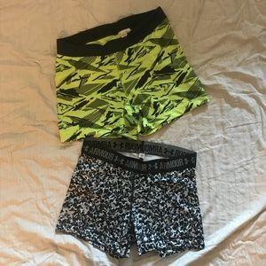 2 stretch athletic shorts large under armor Nike